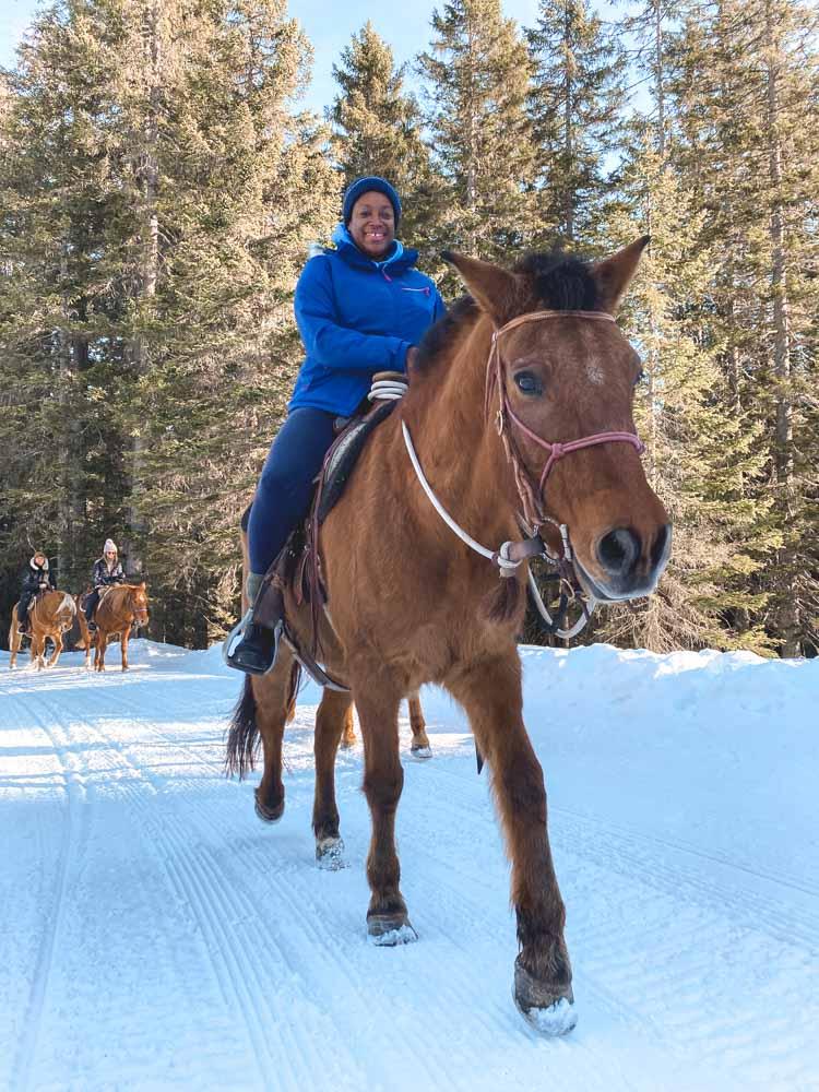 Julianna Barnaby Horse riding in Madonna di Campiglio