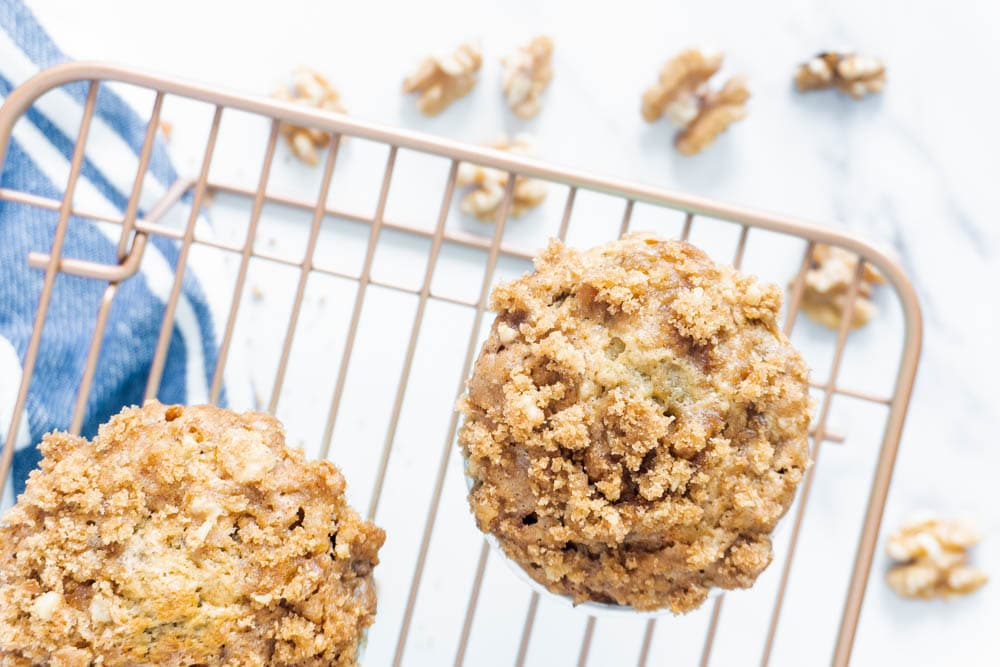 Flatlay of banana muffins with crunchy topping