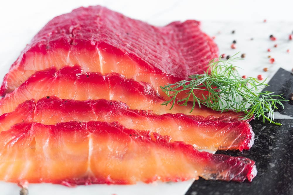 Ridiculously Easy Beetroot Cured Salmon