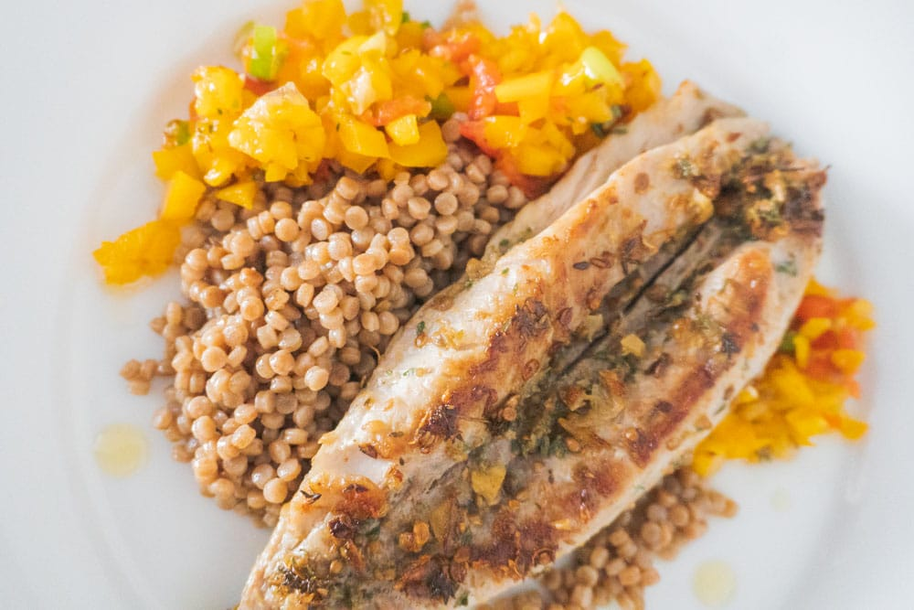 Moroccan Pan-Fried Mackerel Fillets with a Tomato & Pepper Salsa